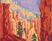 Four 5x7 National Park Prints- Bryce Canyon, Yellowstone Old Faithful, Rocky Mountain, and Glacier