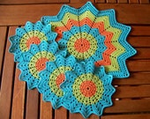 "SALE 40% OFF Handmade Crochet Placemat and Doily Crochet Coasters, Tea / Coffee coasters, orange, apple green, blue, Round 6"" and 13"""
