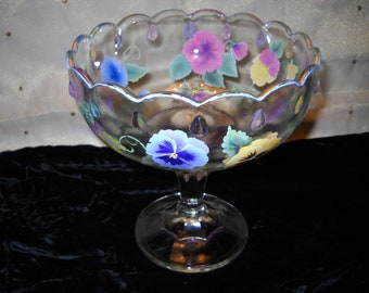 Large Vintage Compote With Colorful Pansies & Artist Touch And Signature