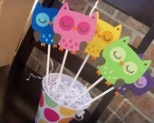 Bright Owl Toppers-Set of 5 Medium Party Decorations-You Choose Your Colors or Mix