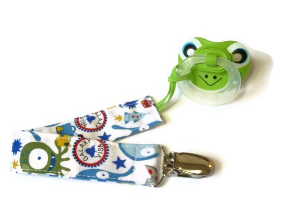Pacifier Clip/ Toy leash/ Binky Holder Alien outer space print Baby Boy or Baby Girl