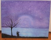 Starry Night Lovers Acrylic Painting 16x20 Wall Art