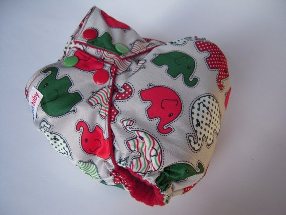 Christmas Elephants OS AI2 Cloth Diaper WITH INSERTS