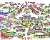 University of Mississippi Ole Miss Illustrated Art Print-Choice of DOUBLE Mat Color Included