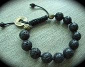 Lava Rock Round Bead Bracelet With Brass Chinese Coin On Black Satin Cord
