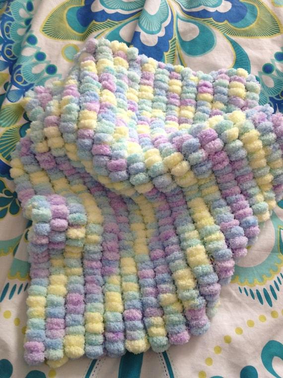 SALE Multi coloured PomPom Blanket for Pram Moses Basket Car