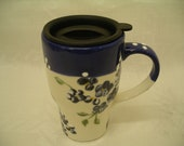 Travel Mug hand painted with cobalt forgetmenots
