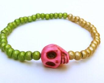 Skull bracelet tribal jewelry green gold hot pink stretch bracelet day of the dead pastel goth bracelet