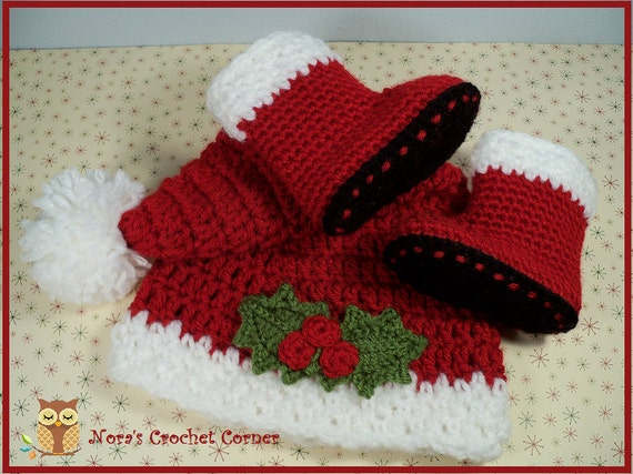 Baby Christmas Santa Hat And Boots Crochet 134