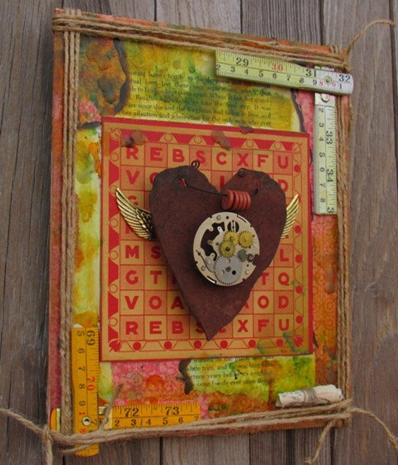 Secrets of the heart a mixed media assemblage wall hanging