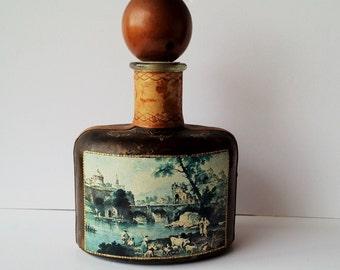 Vintage Leather Covered Large Glass Bottle/Decanter