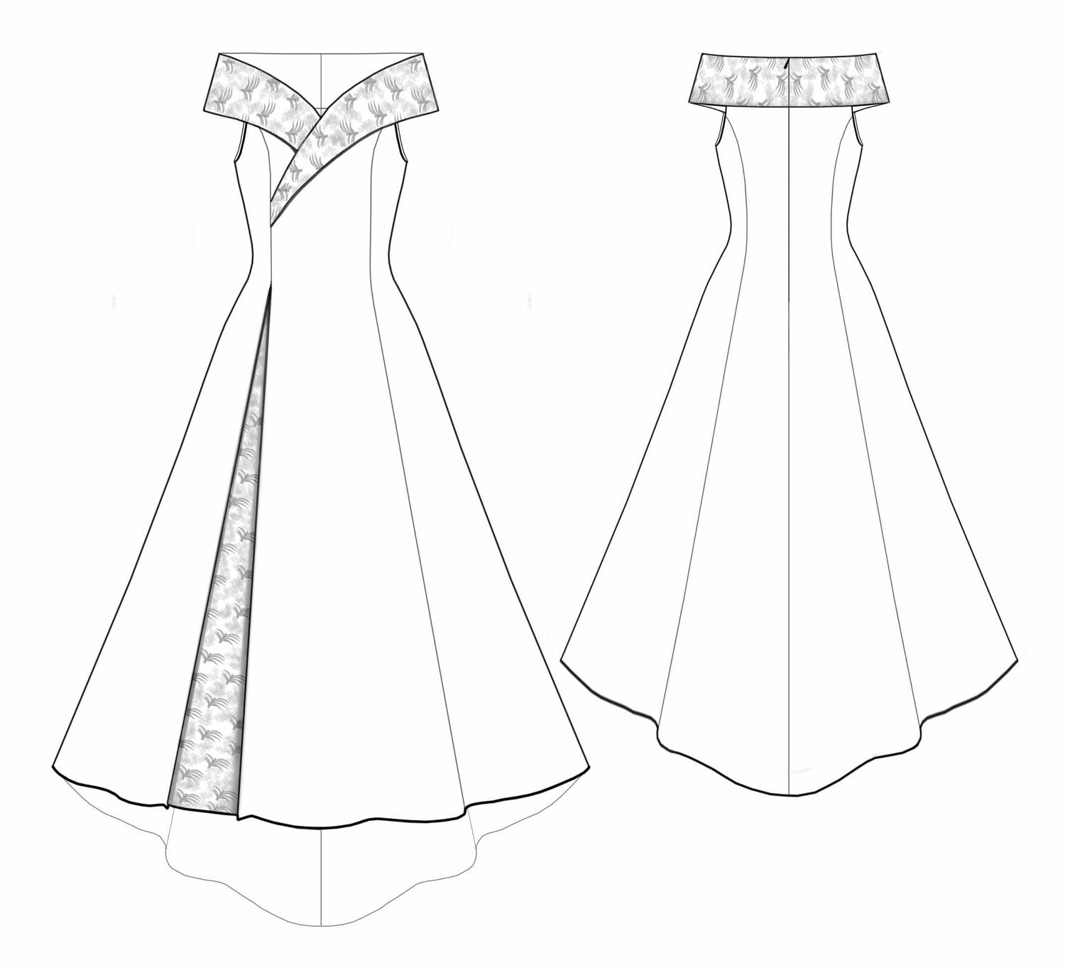 5530 personalized wedding dress pattern bridal gown wedding for Wedding dress patterns free download