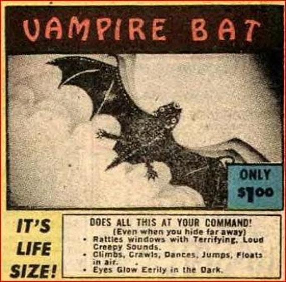 Halloween Decoration..Blood Curdling VAMPIRE BAT    It's Life Size and Obeys Your Commands Glow in the dark eyes