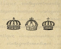 Digital Printable Crowns Download Crown Collage Sheet Graphic Image Vintage Clip Art for Transfers Printing etc HQ 300dpi No.624