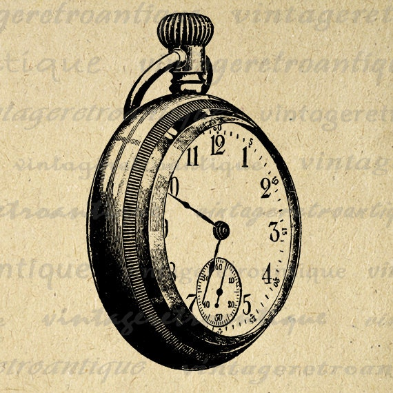 digital printable pocket watch graphic pocketwatch image