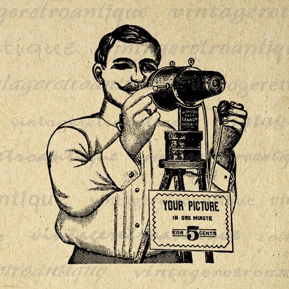 Digital Printable Antique Photographer Graphic Camera Image Illustration Download Vintage Clip Art for Transfers HQ 300dpi No.1101 – Vintage Retro Antique