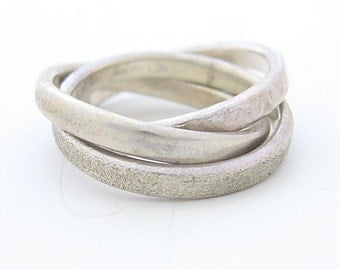 Threesome - Sterling Silver ring , combined of 3 different texture hoops