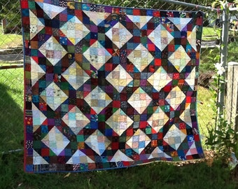 Scrappy  Lattice Lap Quilt