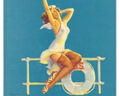Original Mint Condition WWII Era Ankles Aweigh Nurse Pin up by Gil Elvgren