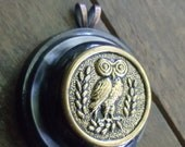 Repurposed Upcycled Vintage Owl Button Jewelry Necklace Pendant Mod Retro Design