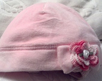 Baby Girls Infant Velour Beanie Cap Hat  - Handmade Irish Rose -  Light Pink - Sizes 0-6 and 6-12  months