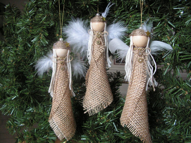Christmas ornament burlap angel set of