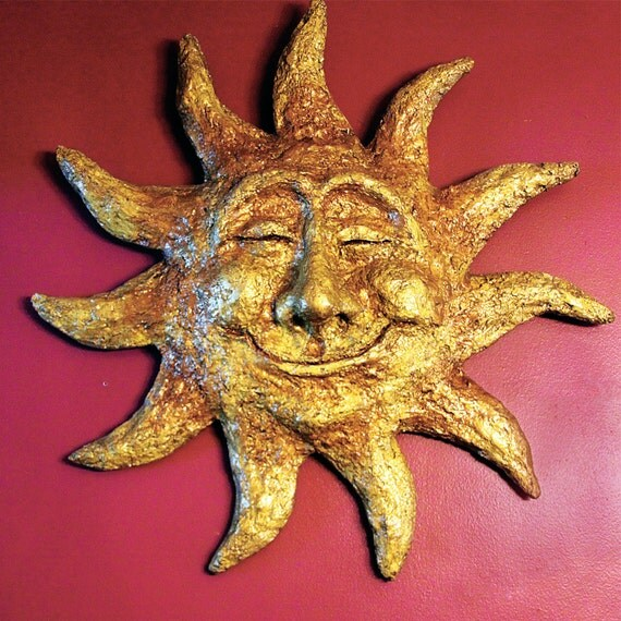 Huge Golden Sun Sculpture - Recycled Materials - Mexican Inspired