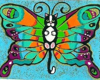 ACEO Darling cute Tuxedo Catterfly Butterfly Cat Kitten Fairy Fantasy Art MINI PRINT of original by K.McCants