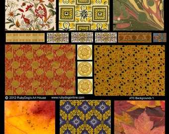 Autumn Collage Sheet - Leaves, Patterns, Marbling, Retro, etc. -