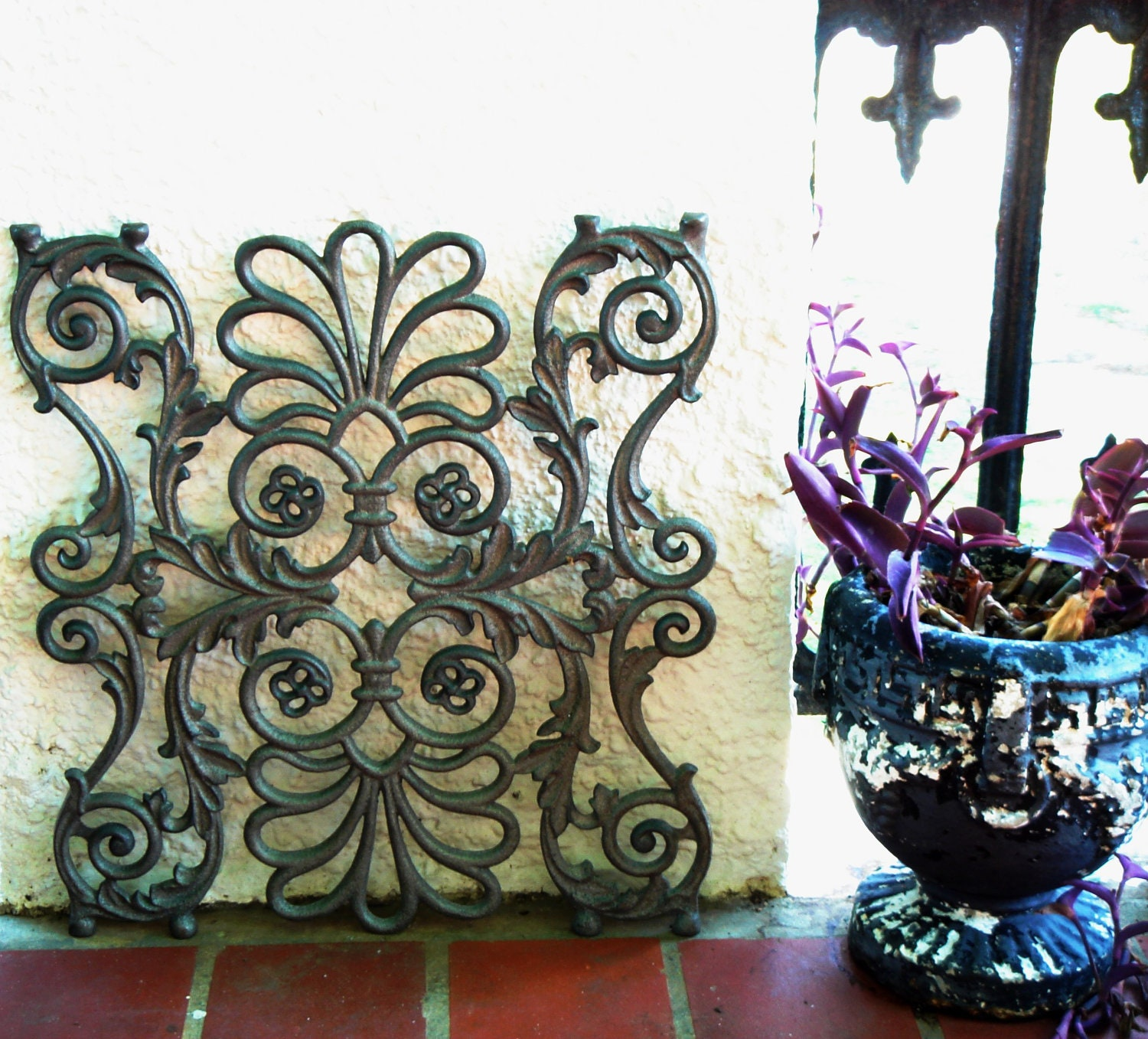 Cast Iron Scroll & Leaf Architectural Window Wall by Theironsmith