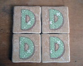 Set of 4 Ceramic Tile Coasters Beige Tiles with Capital D Initial in Green Scrapbook Paper Home Decor