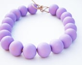 Lavender - lavender, light purple wooden necklace, round beads