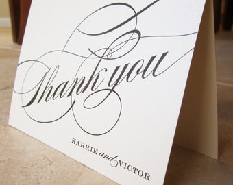 50 Formal Script Personalized Thank You Wedding or Couples Note Card