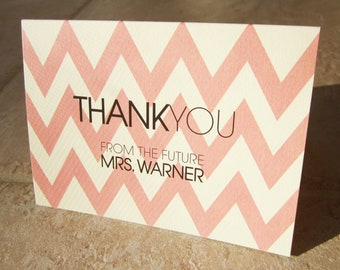 40 Chevron Personalized Thank You From Future Mrs Wedding Shower Note Card