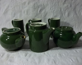Collection of Vintage Hall Olive Green Tea Pots and Mugs, Teacups.