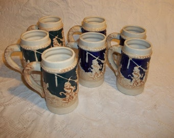 Collection of Vintage Small Steins, Made in Japan, Miniture Steins, Ceramic Mugs