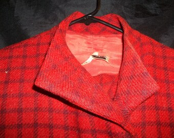 Vintage tip top Universite Paris size 38 Skirt Suit,  Redish Color with Brownish Black.