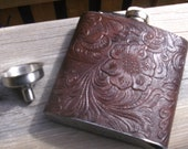 Stainless Steel Hip Flask...6 oz. Chocolate Brown Vinyl Floral Pattern