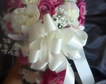 Ivory and fuschia wedding bouquet. Other colors available.