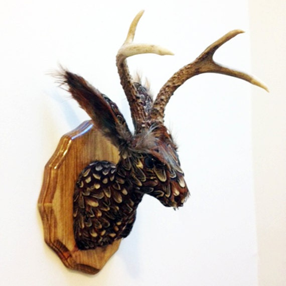 Pheasant Feather Jackalope: Faux Taxidermy Wall by GingerGypsyHome