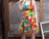 SALE // Sunny Tropical FLORAL Halter Dress // SALE