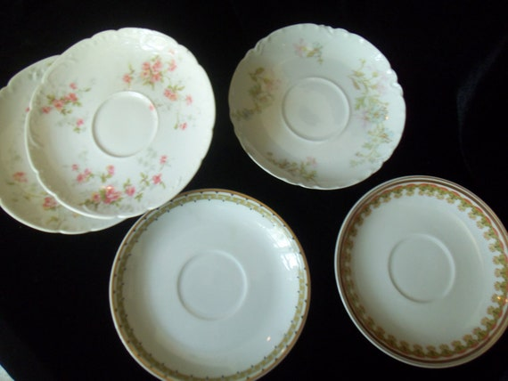 Saucers Odd Lot of Haviland Limoge Saucers 5 Shabby and Chic Farmhouse Mix n Match Saucers