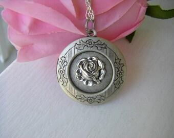 Antique Silver Rose Locket necklace vintage rose gift for her under 30