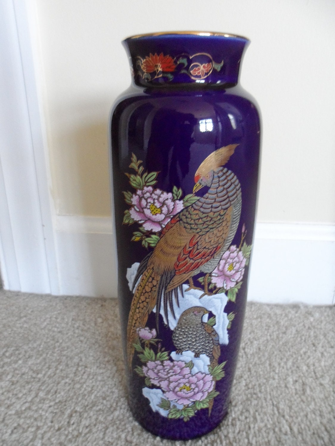 Large Oriental Vase Cobalt Blue Made In Japan