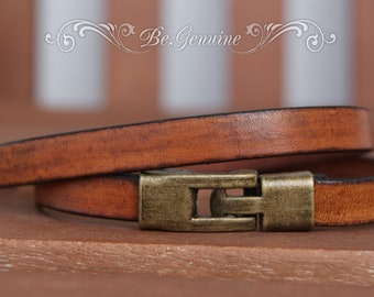 Mens Leather bracelet - Gift for HIM - Brown leather bracelet - Birthday Gift Dad - Double Wrap Bracelet - Mens Jewelry - Mens Gift