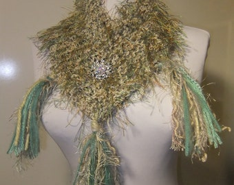 Sage Scarf Knit Crochet with tassels and crystal pin
