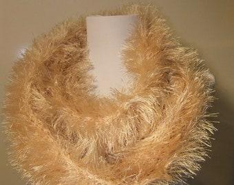 Lion's Mane Infinity Scarf knit crochet loop scarf