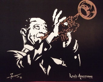 """Louis Armstrong on Trumpet in Art is a Limited Edition, Numbered,10""""x13"""" Print of the Original Artwork by artist: Charles Freeman"""