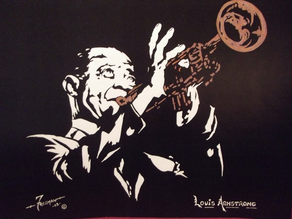"Louis Armstrong on Trumpet in Art is a Limited Edition, Numbered,10""x13"" Print of the Original Artwork by artist: Charles Freeman"