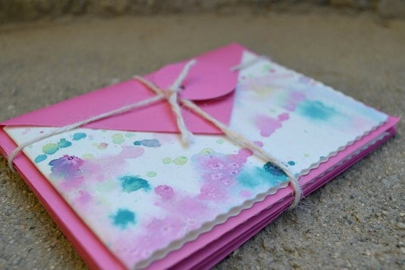 Set of Four Hand Painted, Blank Cards with matching Pink Envelopes